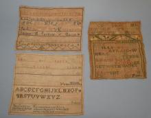 Three 19th Century Unframed Samplers