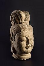 A GREY LIMESTONE HEAD OF GUANYIN