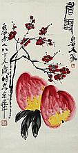 △ BLOSSOMING PLUM BRANCH AND TWO PEACHES