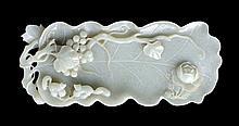 A WHITE JADE  'LEAF' BRUSH WASHER