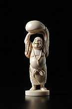 A CARVED IVORY OKIMONO OF HOTEI HOLDING A SACK