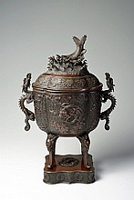 A LARGE DECORATIVE BRONZE CENSER
