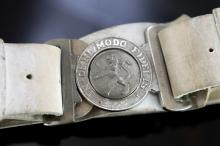 c1900 A colonial white leather belt and buckle of the NSW Scottish Regiment