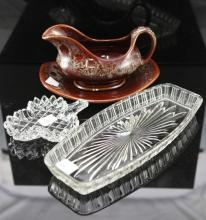 2 glass trays & Kernewek Cornwall Gravy Boat