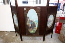Edwardian fireplace screen with 3 painted panels - signed Carnold