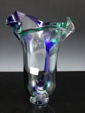 Orrefors Signed Lars Hellsten LH 4945-23 Blue Green Crystal Freeform vase