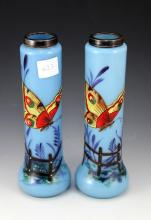 Blue Glass Butterfly Vases With Hallmarked 1928 london Silver Collar