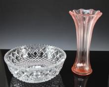 Pink Depression Glass Vase c1930 & Crystal Bowl