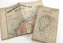 2 vintage maps of Belgium - WW2 War office & French auto map