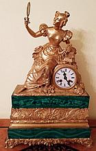 RUSSIAN GILT-BRONZE MOUNTED MALACHITE MANTEL CLOCK 19 CENTURY