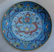 CLOISONNE ENAMELED PLATE CHINA 18-19TH CENTURIES