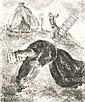 20. JAHRHUNDERT MARC CHAGALL Witebsk 1887 - 1985 Vence Mort de Saul. Radierung aus La Bible 1931-56. S.-V. 263. Aus C. B 29. - Expl. 240/275. Mit dem Namenszug in der Platte. Auf chamoisfarbenem Montval Velin. 28,2 x 23,7 cm. Unterrand mit leichten