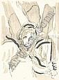 20. JAHRHUNDERT MARC CHAGALL Witebsk 1887 - 1985 Vence L'Ange a l'Epee. Farblithographie zu La Bible I 1956. M. 119. - Verso mit diversen Bleistiftbezeichnungen von fremder Hand. Auf Velin. 36,7 x 27,4 cm. Minimal gebraunt. Mit durchscheinenden