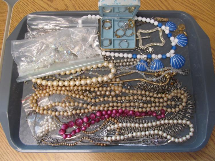 Tray Full of Vintage Jewelry