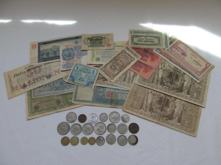 Large Lot of Foreign Currency & Coins