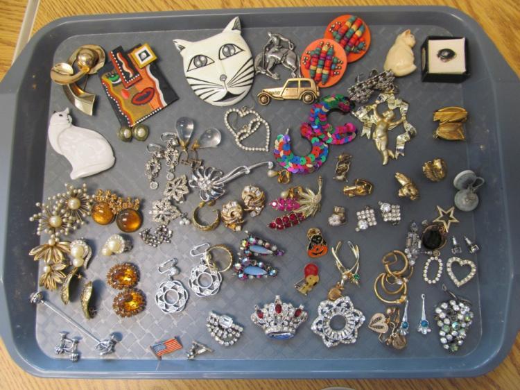 Tray Full of Vintage Earrings & Pins