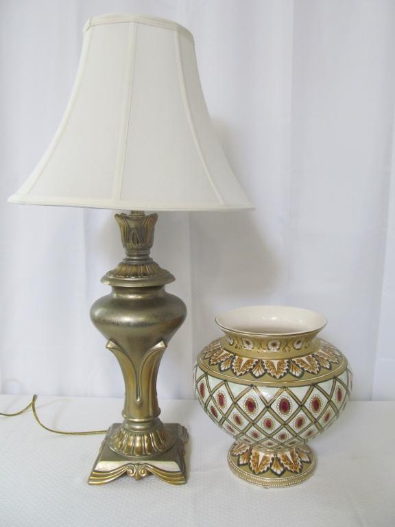 Heavy Table Lamp & Oriental Vase