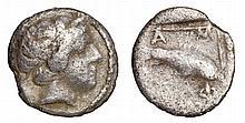 MACEDONIA. Amphipolis. 357-353 BC. AR Obol. Head of Apollo ANCIENT GREEK COIN
