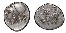 CORINTHIA. Corinth. 405-345 BC. AR Stater. Helmeted Athena left, Pegasus ANCIENT GREEK COIN