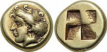 IONIA. Phokaia. 478-387 BC. EL Hekte. Head of nymph