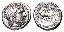 MACEDONIA. Philip II. 315-294 BC. AR Tetradrachm. Amphipolis mint. head of zeus ANCIENT GREEK COIN
