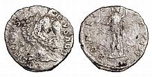 Septimius Severus. 193-211 AD. AR Denarius. emperor in military dress standing left, holding Victory and spear