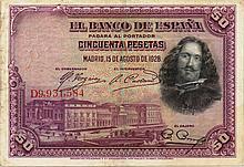 50 PESETAS 1928 SPAGNA BANK NOTE - PAPER MONEY