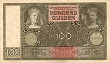 100 GULDEN 6-9-1942 NETHERLANDS  BANK NOTE - PAPER MONEY