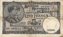 5 FRANCS 1938 (ERROR DATE) 4,5,88 RARE BELGIUM PAPER MONEY