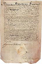 Ancient vellum manuscript. Rome 1636. Letterhead of Cardinal Marcus Antonius Franciotti. Language: Latin.