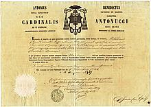 Italy. Ancona. 1859. Wedding Certificate. Paper head with the name of Cardianl Antonucci fine dry seal