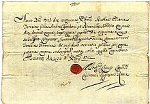 Rome 1721. Baptism certificate manuscript in the bottom sealing wax with ecclesiastical emblem .