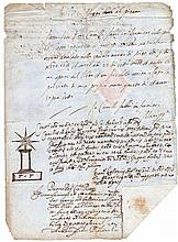 Italy. Tuscany. Pisa. 1615. Manuscript Death certificate. Dry seal in the bottom.