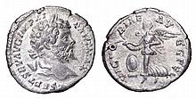Septimius Severus. AR Denarius. 199 AD. VICTORIAE AVGG FEL, Victory flyng Left  ROMAN COIN