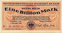 1 BILLION MARK 1923 FRANKFURT GERMANY