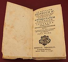 Heineccius Jo. G. Antiquitatum Romanarum Jurisprudentiam Illustratium Syntagma 1744, Vellum Cover Language: Latin RARE ANCIENT BOOK