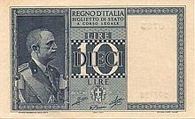 10 LIRE 1944 QFDS ITALIA BANK NOTE - PAPER MONEY