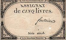 5 LIVRES 1793 - ASSIGNAT FRANCE BANK NOTE