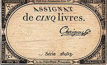 5 LIVRES 1793 - ASSIGNAT FRANCE PAPER MONEY
