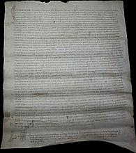 Spain 1529 Ancient notarial vellum manuscript. With signature and notary symbol Language: latin Very rare