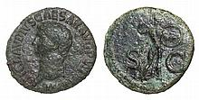 Claudius. 41-54 AD. AE As. Minerva advancing ROMAN COIN