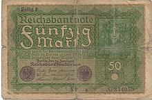 50 MARK 1919 GERMANY BANK NOTE
