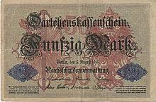 50 MARK 1914 GERMANY BANK NOTE