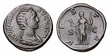 Julia Mamaea. 231-235 AD. AE Sestertius. VESTA SC  ROMAN COIN