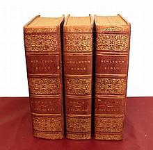 The Holy Bible containing the Old and the New testament and Apocrypha with critical, philological and explanatory notes. By the Rev. John Hewlett.  3 volumes. 1812. London. Total weight: 12 Kg. RARE ANCIENT BOOK