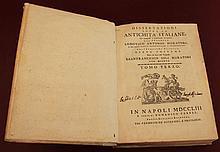Dissertazione sopra le antichità italiane. Tomo 3. 1753 Napoli - Naples. RARE ANCIENT BOOK