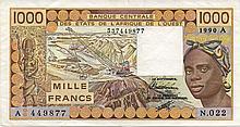 1000 FRANCS 1990 - BURKINA FASO FRENCH WEST AFRICA