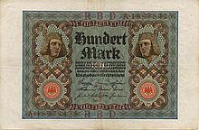 100 MARK 1920 GERMANY BANK NOTE - PAPER MONEY