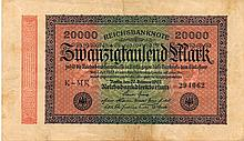 20000 MARCHI 1923 GERMANY BANK NOTE