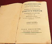 Institutionum Canonicarum. Joannis Devoti. Roma. 1818. Language: Latin